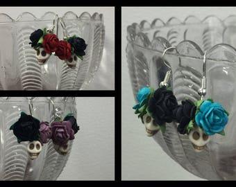 Flower Skull Earrings