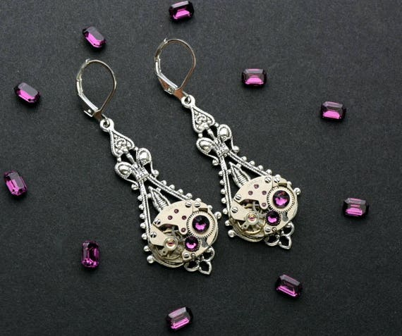 AMETHYST Steampunk Earrings Steampunk Jewelry Steampunk Wedding Vintage Style Silver Steam Punk Victorian Steampunk by Victorian Curiosities
