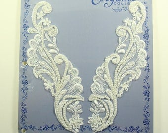 Vintage Embroidered Beaded Lace Collar Trim Applique, Wrights Elegance Collection, White, Floral, Neckpiece, Bridal, Rayon, NOS, NIP,