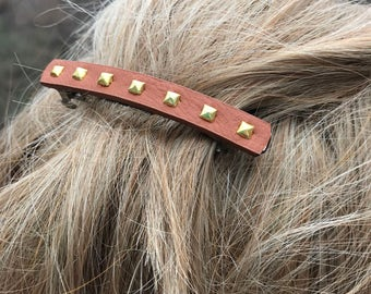 Womens Hair Barrette, Teen Hair Accessories, Western Style, Jeweled hair accessories, Leather Hair Clip, Leather Hair Accessories