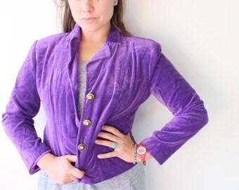Vintage PURPLE VELVET Blazer Jacket...size small medium...gogo. solid. holiday. mod. twiggy. retro. womens. kooky. designer vintage. mod
