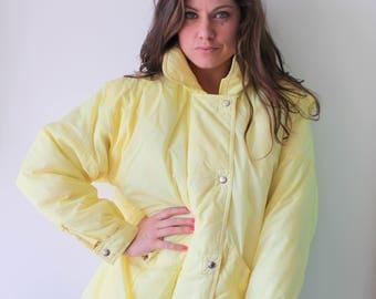 1980s YELLOW Jacket.size medium large. colorful. bright. retro. teal. rainbow. 1980s. 1990s. rad. fun. hipster. womens. swishy. mesh jacket