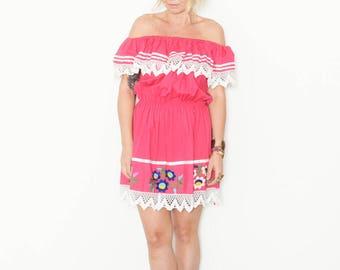 Vintage Embroidered Mexican Mini Dress , Off Shoulder Dress