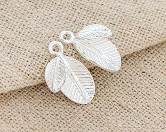 2 of 925 Sterling Silver Leaf Charms  10x13mm.  :tm0155