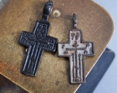 Set of 2 Antique metal Old cross Christian Cross pendant. Orthodox church