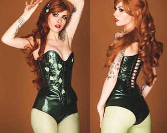 "S/M Poison IVY 24"" overbust corset and high waisted underwear (steel boned) Artifice (ready to ship)"