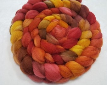 Merino Top - 4 ounces - 19.5 Microns Dyed in Red, Paprika Orange, Brown and Mustard