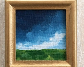 Tiny landscape painting // original painting // Tiny art // Landscape #4 // Elle Byers Artist // frame included