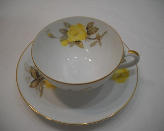 Vintage Cotillion by Japan Yellow Rose China TeaCup and Saucer 1950's Free Shipping