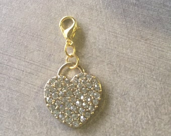 Only One! Gold metal Rhinestone heart pendant or charm
