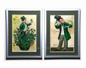 St. Patrick's Day 2 Framed Ellen Clapsaddle Postcard Reproductions in 5x7 Matted Silver Frames, Wearing of the Green, FREE SHIPPING