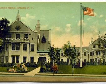 Jamaica N.Y. Chapin Home Postcard, Queens New York City NYC, Antique Color Ephemera c1910