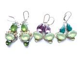 Multicolor Earrings, Unusual Earrings, Purple Green Earrings, Amethyst Chalcedony, Lavender Green, Small Earrings, Purple Earrings, Green