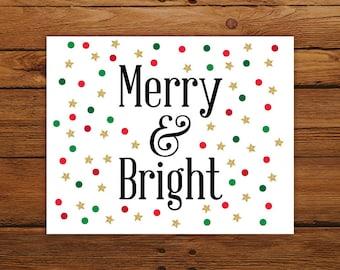 Merry and Bright Christmas Print, Christmas Song Wall Art, Red and Green Polka Dot Christmas Decor with Gold Stars