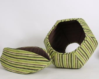 Matching Set of Pet Beds in Green Stripes - the Cat Ball and Cat Canoe - Made in USA and Ready to Ship