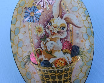 Vintage Baret Easter Lithograph Bunny Tin, Candy, England