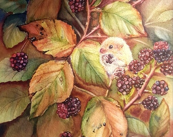 Harvest of plenty, original watercolor of mouse and bramble bush.