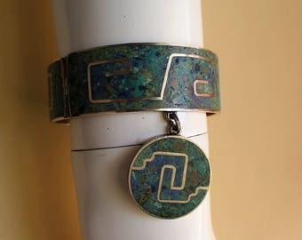 Vintage Mexican Inlaid Lapis Turquoise Sterling Bracelet