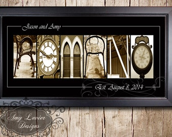 Personalized Family Name Signs - Alphabet Photography- 10x20 framed