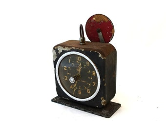 Vintage collectible mid century X ray interval clock, steampunk, vintage industrial decor