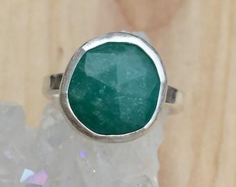 Green Amazonite ring, Green Bezel Ring, Green Natural Stone Ring, Stacking Ring, Natural Amazonite Gemstone, Turquoise Green Stone Ring