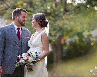 Wine Bridal Flower Hair Clip, Deep Burgundy Wedding Hair Accessory, Wine Fascinator, Burgundy Bridal Head Piece