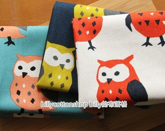 m148_55 - owl fabrics - cotton linen fabrics ( 3 color to choose) in Half Yard