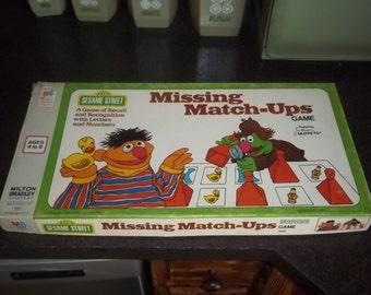 Vintage 1976 Missing Match-Ups Seseame Street Game by Milton Bradley