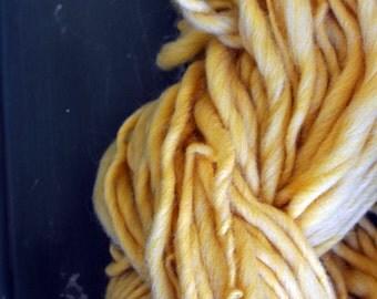 Yarn Handspun Hand Spun Bulky Heavy Worsted Cream Yellow Slight Yellow Light Pastel Undyed Knitting Supplies Crochet Supplies Yarn