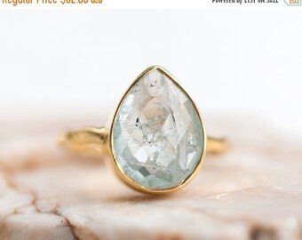 40 OFF - Aquamarine ring - March Birthstone Ring - Gemstone Ring - Stacking Ring - Gold Ring - Tear Drop Ring