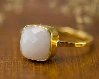 40 OFF - White Stone Square Ring - Bridal Ring - Summer Ring - Gold Ring - Cushion Cut Ring - Gift for Mom