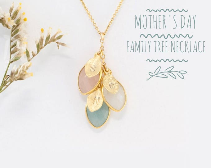 Featured listing image: Custom Birthstone Necklace For Mom - Mothers Day Gift - Mommy Necklace - Custom Necklace - Family Necklace - Nana Gift Jewelry - Cascade