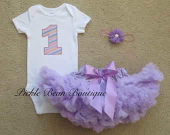 1st Birthday Girl Outfit, Ready To Ship, Pastel Rainbow Bodysuit, Lavender Pettiskirt, Headband, Girls First Birthday Outfits, Baby Tutus