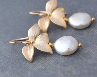 Wild Orchid Earrings, White Coin Pearls, 14K Gold FilledHoops, June Birthstone, Gift Under 35