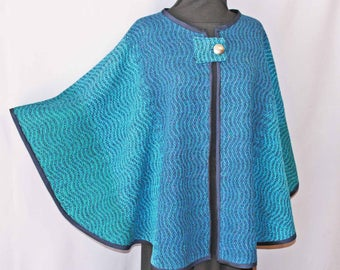 Blue wool  hand woven cape, handwoven blue poncho, shawl