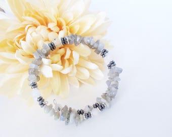 Labradorite Bracelet, Gray Hematite Wrap Bracelet, Memory Wire Bracelet, Boho Quartz Bracelet, Bohemian Bead Bracelet, Birthday Gift for Her