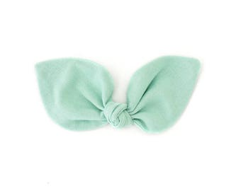 Mint Bunny Ears Headband - Baby Bow Headband - Girls Hair Bow Clip