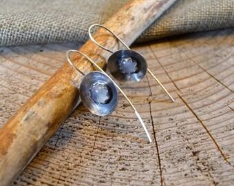 Rustic Earrings - Oxidized Silver Jewelry - Moonstone Jewelry - Handmade - Minimalist Moonstone Earrings - Sterling Silver Gemstone Earrings