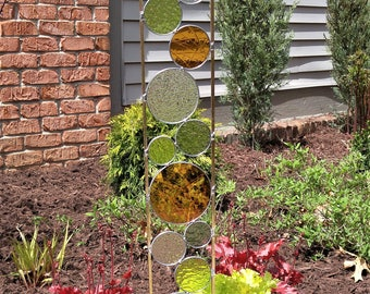 Stained glass Garden Art Stake amber gray chartreuse modern yard decoration