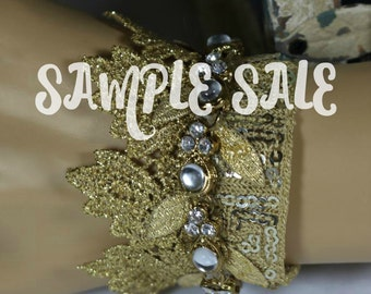 Camelot .. Gold Crown Bridal Cuff ..Wedding .. Hand Made Gift .. Special Occasion Jewelry .. OOA Cuff .. Sample Sale