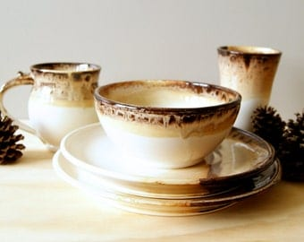 MADE TO ORDER..... Place Setting, Ceramic Dinnerware, Glazed in Toasted Marshmallow, white and brown
