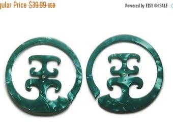 ON SALE Emerald Damascus Hoops- 2 earrings for the price of 1