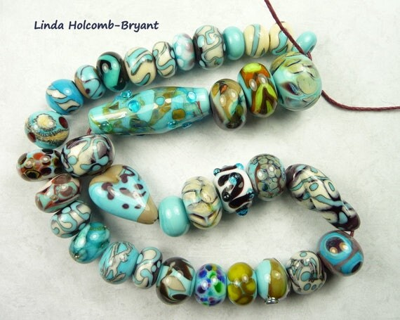 Lampwork Glass Bead Set of Mixed Multicolored Beads- set of 35
