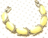 Vintage Kramer Yellow Thermoset And Rhinestone Bracelet