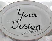 """Custom Gold Personalized Platter, 14"""", Bespoke Platter, Wedding Platter, Customizable Platter, Made-to-Order Platter, Monogram Platter"""