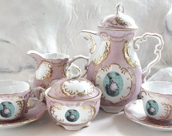 Marie Antoinette Tea Set, 7 Pieces, Chic Tea Set, Marie Antoinette Teacup, Customizable Tea Set, Shabby Chic Teacup, Kitsch Tea Set