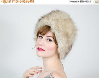 25% OFF SALE / 1950s vintage hat / blue fox fur hat / fur cloche