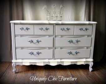 Paris Gray and White French Provincial Dresser, Nightstand and MIrror~Shipping not Included
