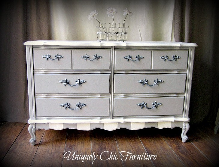 White Nightstand And Dresser: Paris Gray And White French Provincial Dresser And Nightstand