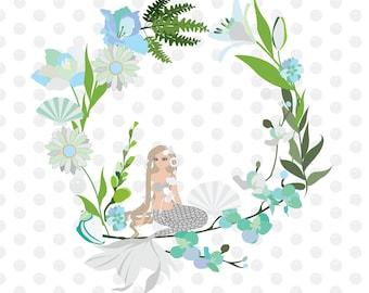 Mermaid Wreath Clip Art High Resolution Graphic Digital Scrapbooking